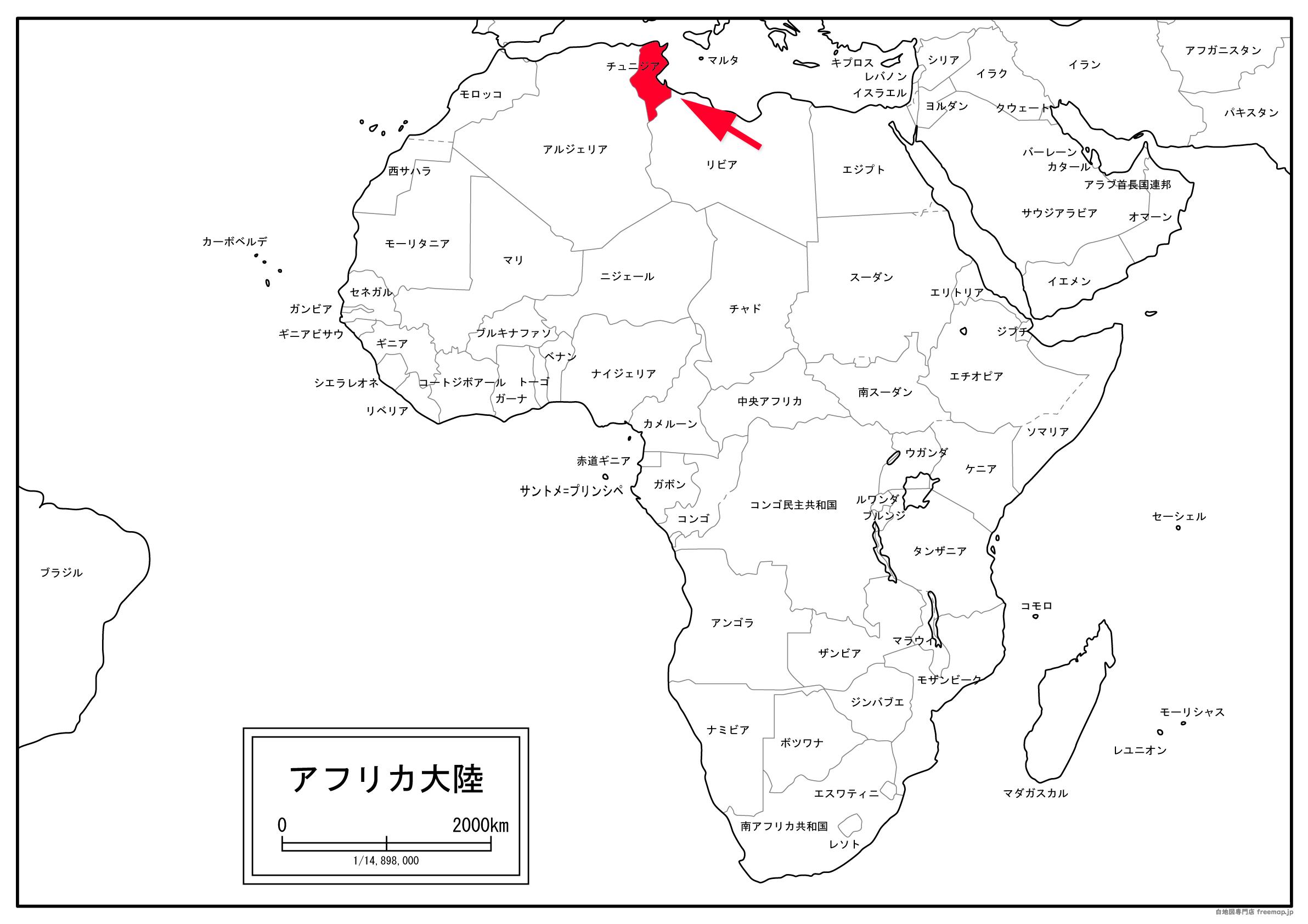 チュニジアの位置